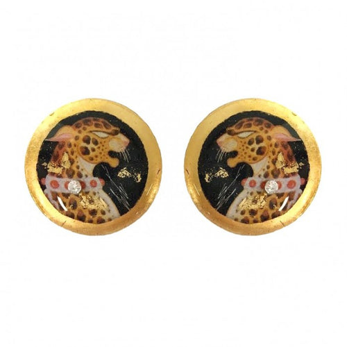 Erté Leopard Stud Earrings