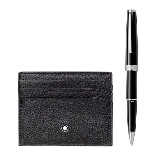 Montblanc PIX Black Rollerball and Meisterstuck Pocket Holder