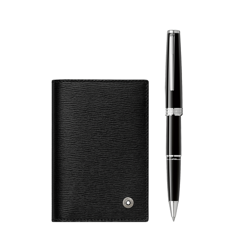 Montblanc PIX Black Rollerball and Westside Business Card Holder Gift Set