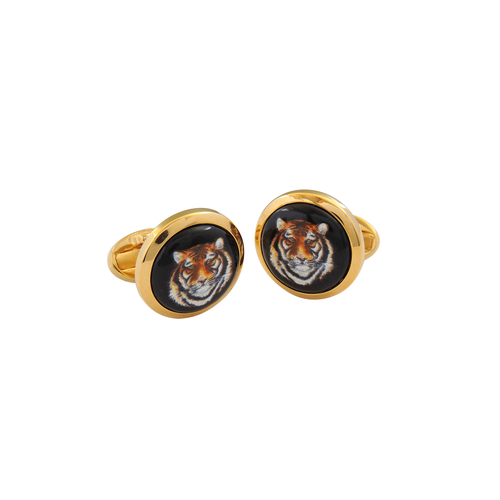Halcyon Days Tiger Head Cufflinks
