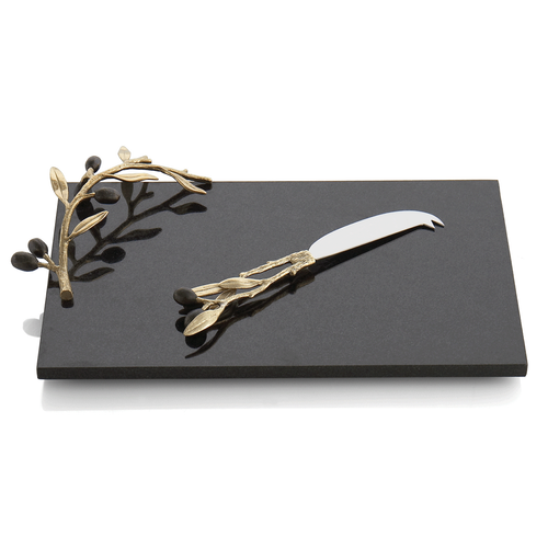 Michael Aram Olive Branch Gold Cheese Board and Knife