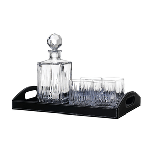 Crystal Decanter and Double Old Fashion Bar Set