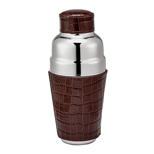 Brown Crocodile Embossed Leather Cocktail Shaker