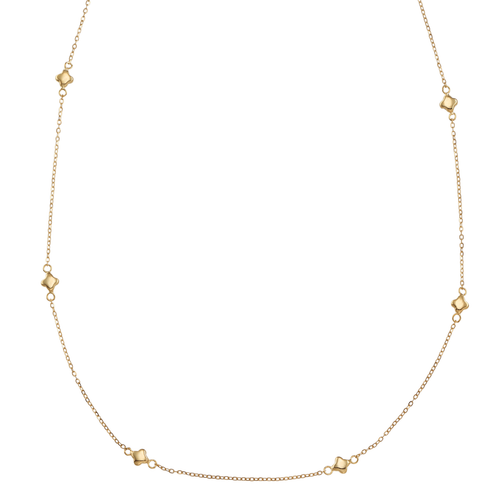 Artisan 14k Gold Clover Station Necklace