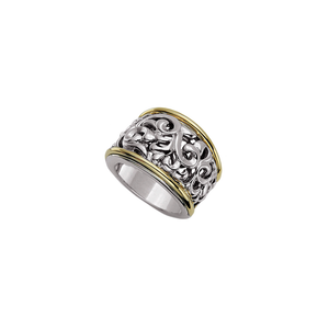 Charles Krypell Sterling Silver and 18k Yellow Gold Ring