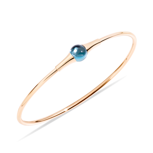 Pomellato 18k Gold and Blue Topaz M'ama Non M'ama Bangle