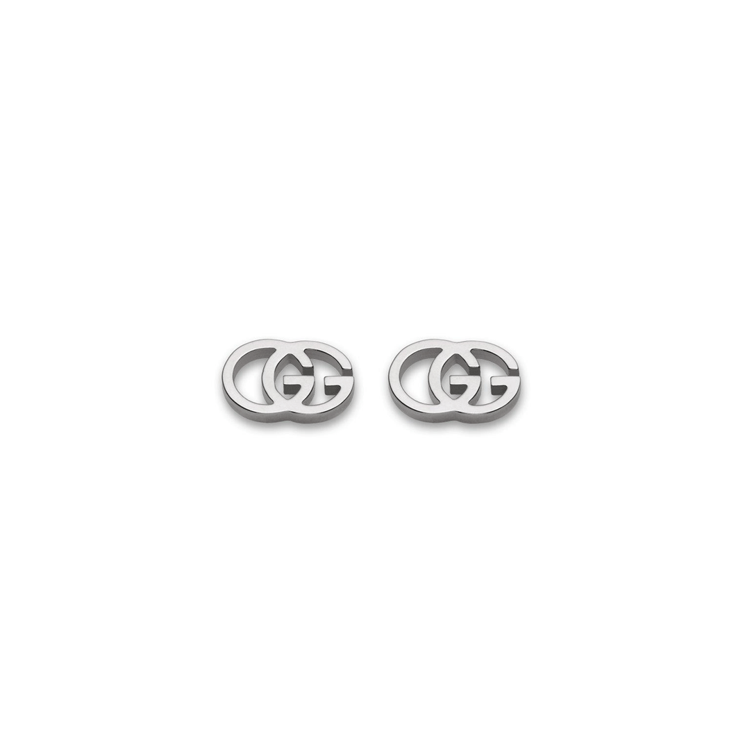 Gucci 18k White Gold Double G Earrings