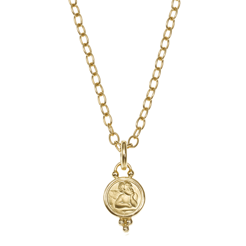 Temple St. Clair 18k Gold 10mm Angel Pendant