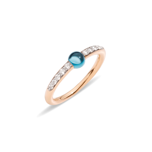 Pomellato 18k Gold and Blue Topaz M'ama Non M'ama Ring