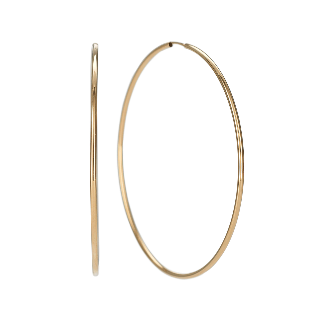 Classic 14k Yellow Gold 60mm Hoops