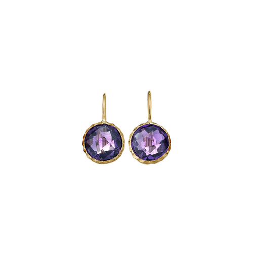 Facets 14k Gold and Amethyst Drop Earrings