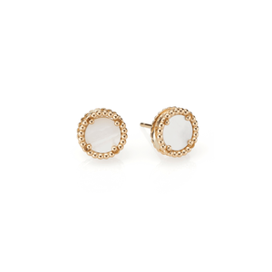 18K Gold and Mother of Pearl Earrings