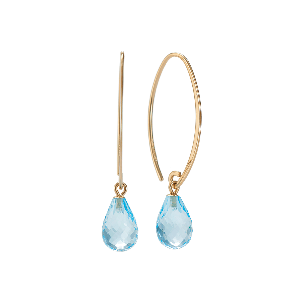 Calypso 14k Gold and Blue Topaz Threader Earrings