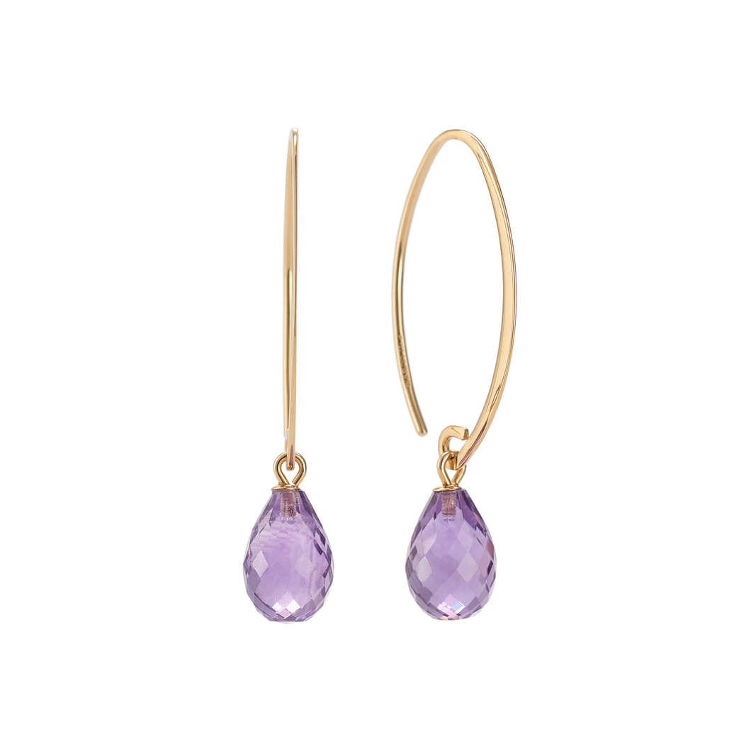Calypso 14k Gold and Amethyst Threader Earrings