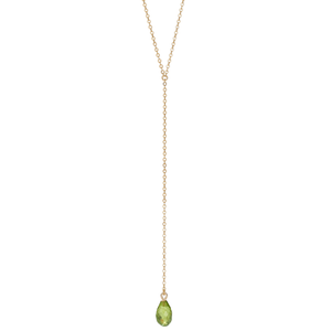 Calypso 14k Gold and Peridot Y Drop Necklace