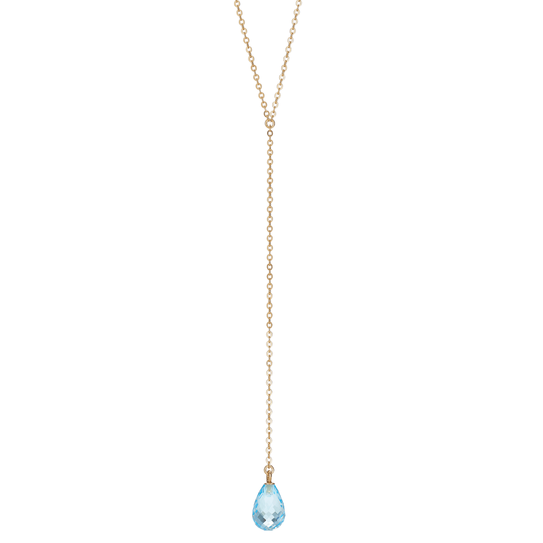 Calypso 14k Gold and Blue Topaz Y Drop Necklace
