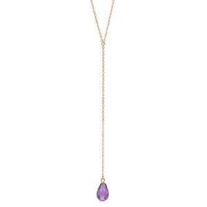 Calypso 14k Gold and Amethyst Y Drop Necklace
