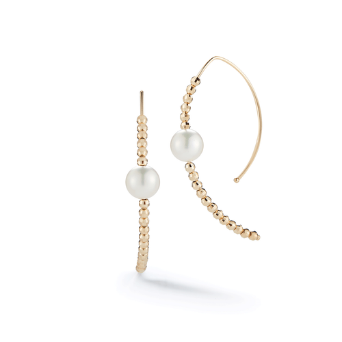 Mizuki 14k Yellow Gold and Pearl Marquis Open Earrings