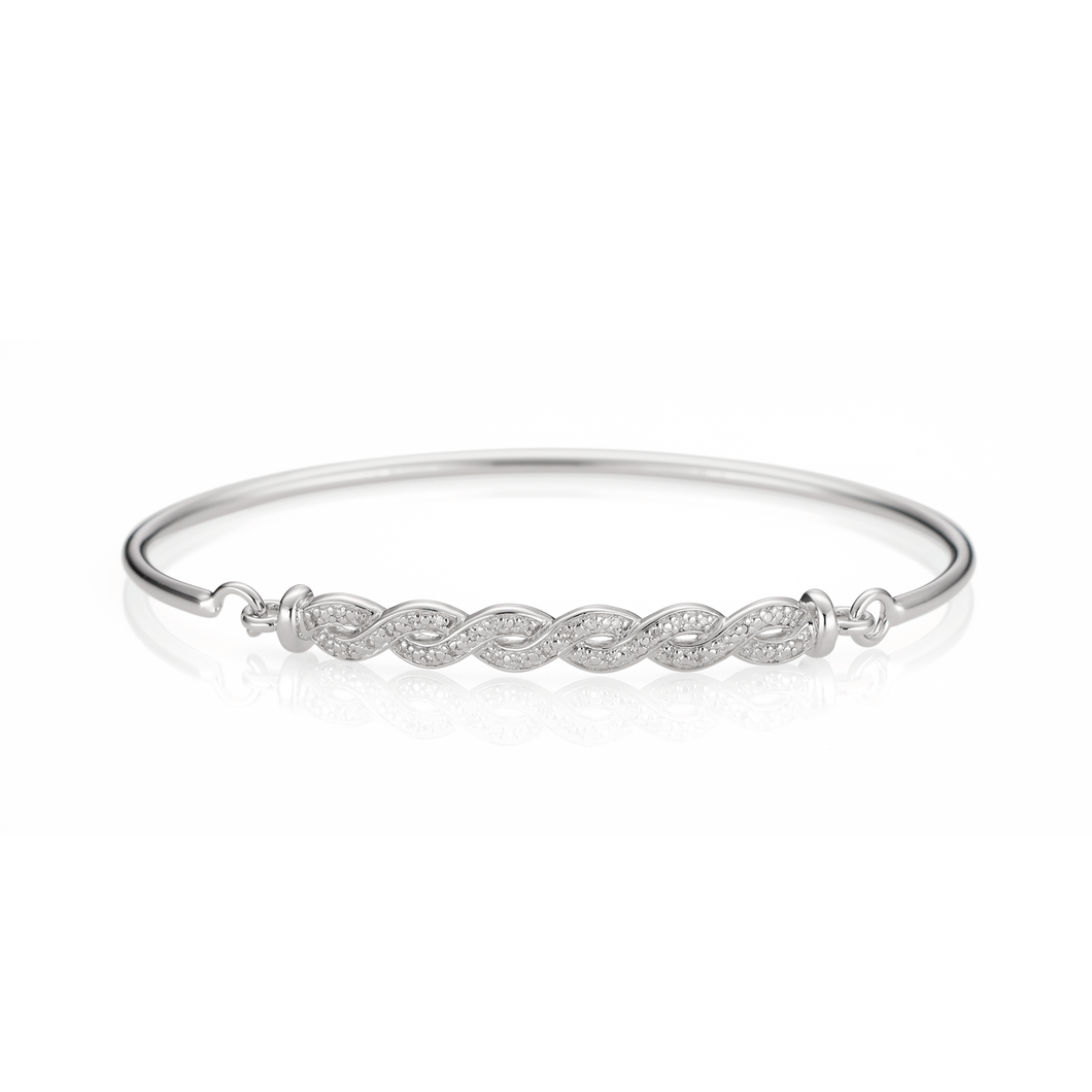 Sterling Silver and Diamond Infinity Bangle