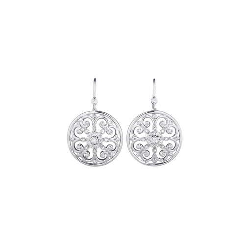 Arabesque Sterling Silver and Gold Diamond Earrings