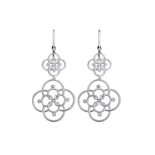 Arabesque Sterling Silver and Gold Diamond Drop Earrings