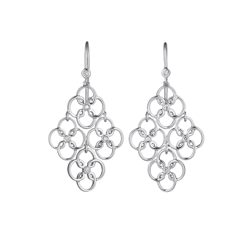 Arabesque Sterling Silver and Diamond Drop Earrings