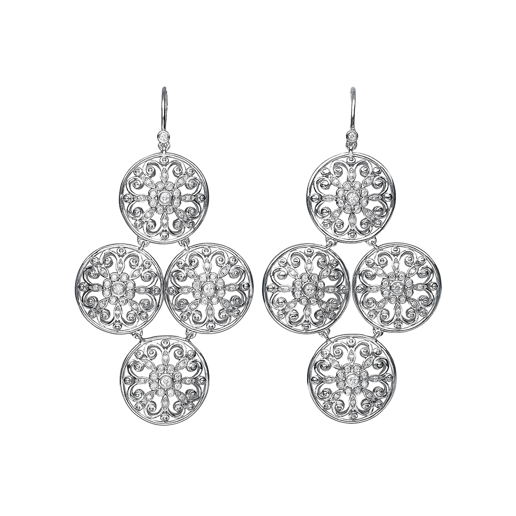 Arabesque Sterling Silver and Diamond Large Drop Earrings