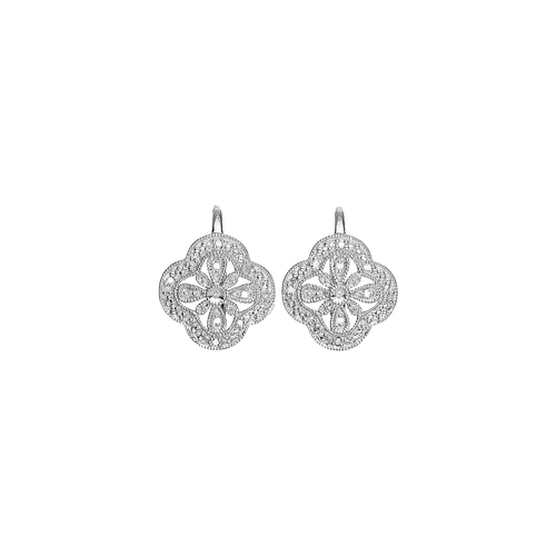 Artisan Diamond and Sterling Silver Flower Earrings