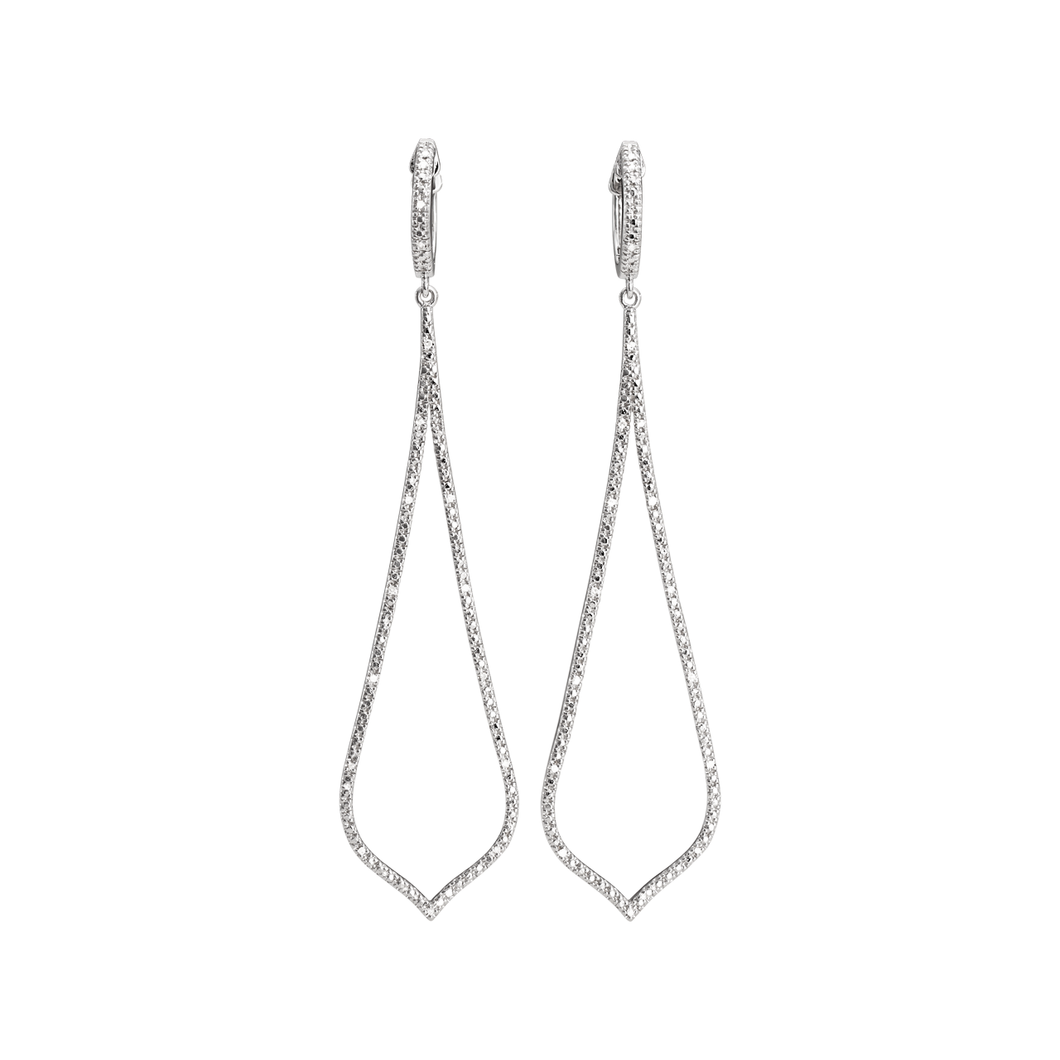 Artisan Sterling Silver and Diamond Drop Earrings