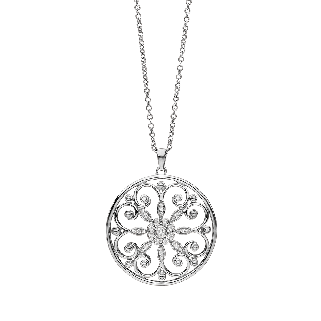 Arabesque Sterling Silver and Diamond Circle Pendant