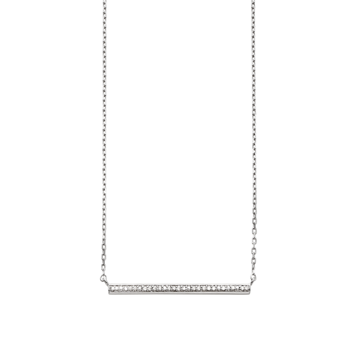 Artisan Sterling Silver and Diamond Bar Necklace