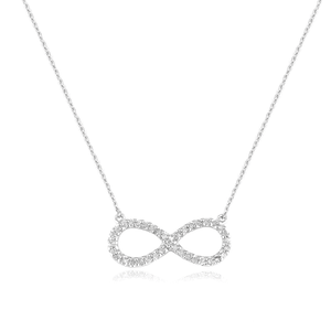 Sterling Silver and Diamond Infinity Necklace