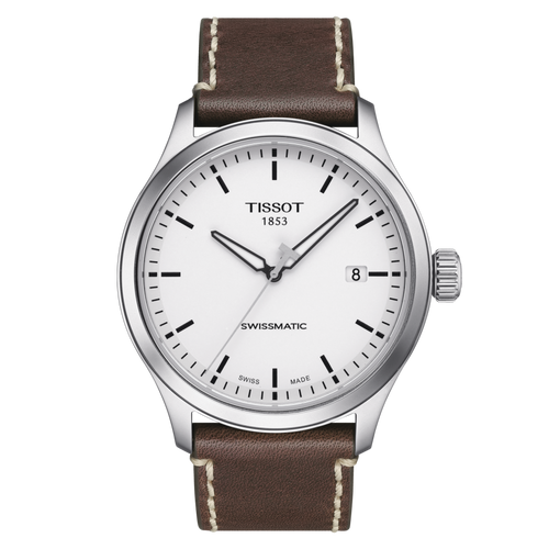Tissot Gent XL Swissmatic with White Dial and Brown Leather Strap