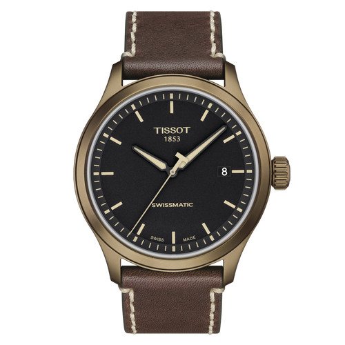 Tissot Gent XL Swissmatic with Black Dial and Brown Leather Strap