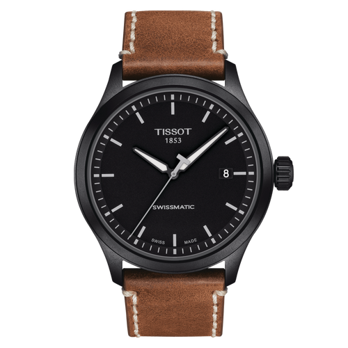 Tissot Gent XL Swissmatic with Black Dial and Beige Leather Strap