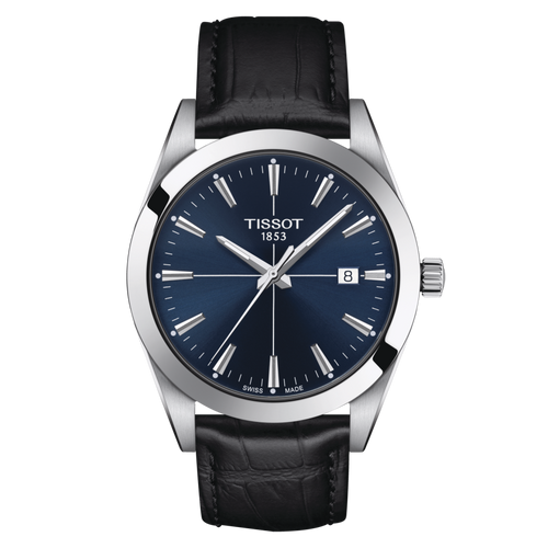 Tissot Gentleman with Blue Dial and Black Leather Strap