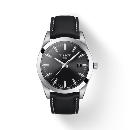 Tissot Gentleman with Black Dial and Black Leather Strap