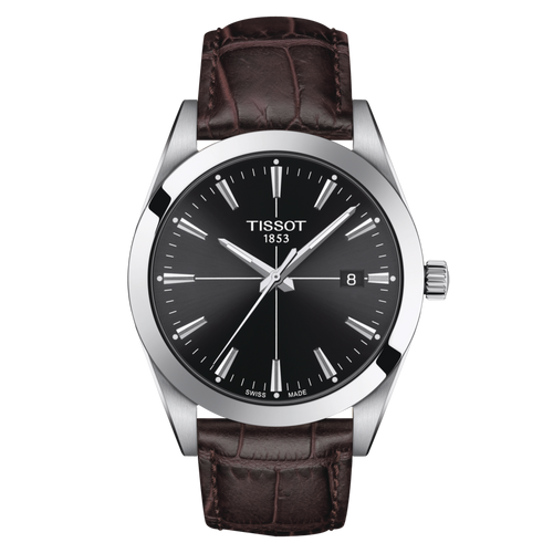 Tissot Gentleman with Black Dial and Brown Leather Strap