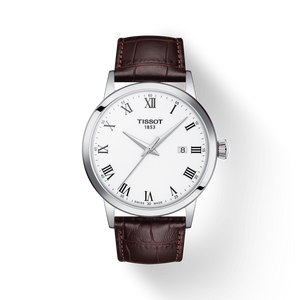 Tissot Classic Dream with White Dial and Brown Leather Strap