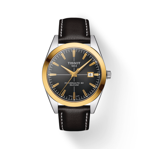 Tissot Gentleman Powermatic 80 Silicium Solid 18K Gold Bezel with Leather Strap