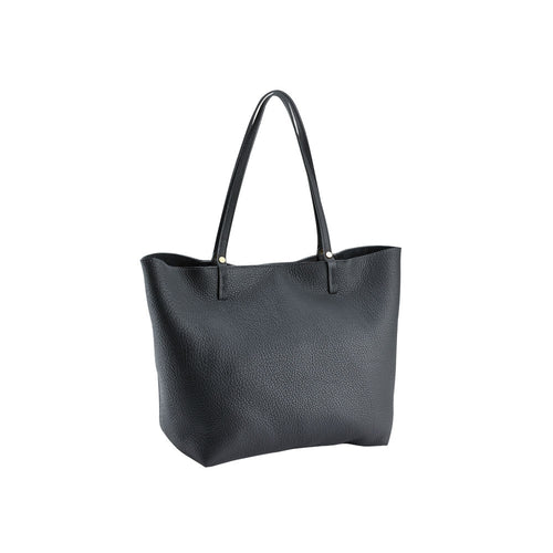 Black Pebble Leather Tote
