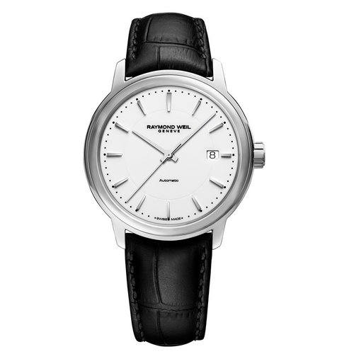 Raymond Weil Maestro Men's White Dial Automatic Leather Watch