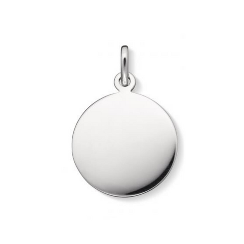Engraved Sterling Silver Round Disc Charm
