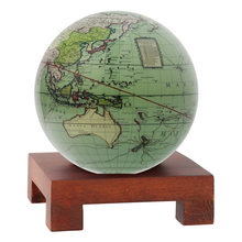 "Load image into Gallery viewer, Antique Terrestrial Green MOVA Rotation Globe 4.5"" With Square Base In Dark Wood"