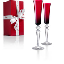 Load image into Gallery viewer, Baccarat Mille Nuits Red Flute Set of Two