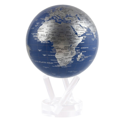 Blue And Silver MOVA Rotation Globe With Acrylic Base