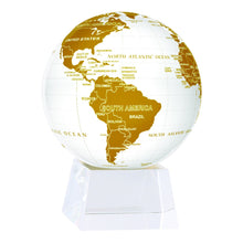 "Load image into Gallery viewer, White And Gold MOVA Rotation Globe 4.5"" With Crystal Base"