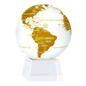 "White And Gold MOVA Rotation Globe 4.5"" With Crystal Base"