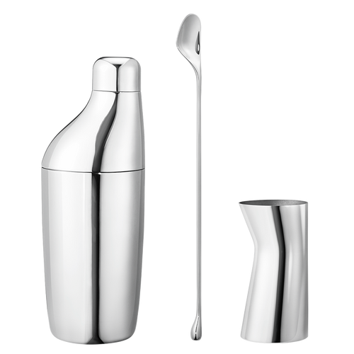 Sky Three Piece Gift Set, Shaker, Stirring Spoon, And Jigger