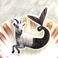 Capricorn Sticker - Goat Mermaid Laptop Stickers for Animal Lovers By Pergamo Paper Goods. Vintage Inspired Collage Art for Animal Lovers.